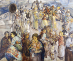 Theresa Bernstein_1890-2002_The Immigrants_1923_oil on canvas_40 x 50 in_Collection of Thomas and Karen Buckley_part of the exhibition Theresa Bernstein_A Century in Art_at Woodmere Art Museum July 26 to October 26