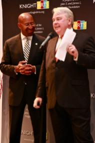 Mayor Michal Nutter and Knight's VP/Arts Dennis Scholl