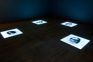 Installation view of Biografías (Biographies), 2002, by Óscar Muñoz (Colombian, born 1951).Courtesy of the artist and Sicardi Gallery